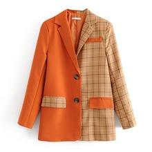 women plaid patchwork orange suit jacket formal blazer pocket 2019 fashion ladies blazer designer work wear outwear patchwork недорого
