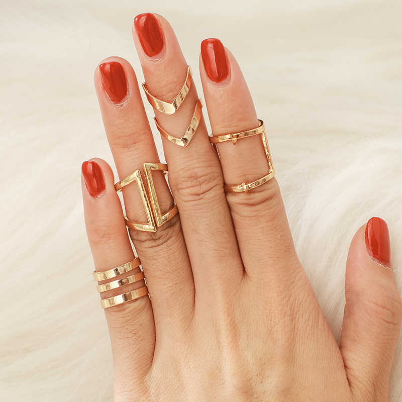docona Punk Gold Color Geometric Alloy Knuckle Rings Set for Women Girl Midi Finger Rings Statement Jewelry 6120