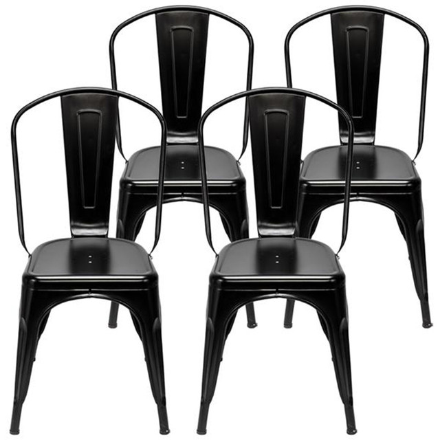 4pcs Industrial Style Iron Sheet Chair Black for Restaurants Pubs Cafes And Multiplayer Gatherings Dining chair 6