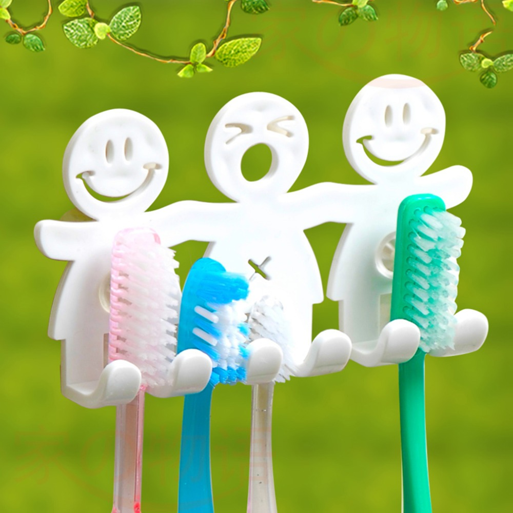 Cute Smile Face Toothbrush Towel Holder Rack Wall Sucker Hook Rack Kitchen Organizer Bathroom Accessory Wall-mounted Toothbrush