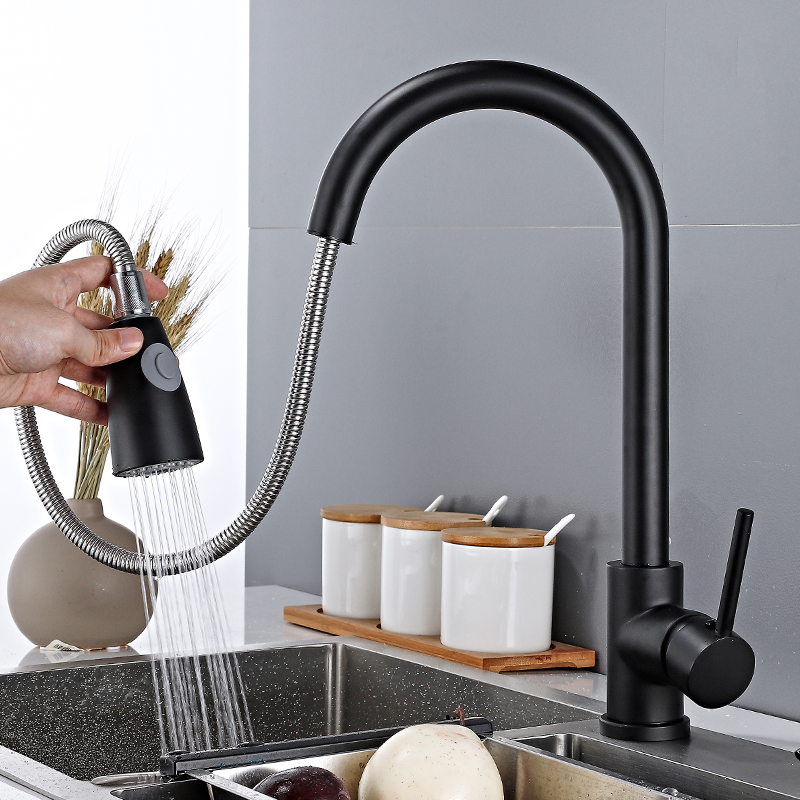 black stainless steel kitchen faucet hot and cold mixer taps pull out side sprayer dual spout faucet 360 rotation kitchen faucet