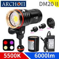 DM20 II 5200K max 6000lumen tauchen video & spot lichter HD rot UV foto füllen lichter fackel unterwäsche 100m dive beleuchtung taschenlampe