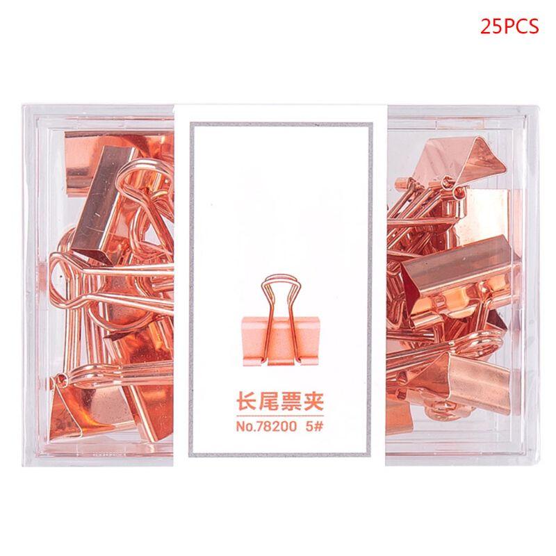 25pcs//box Rose Gold Binder Clips Message Ticket Paper Clip Holder Organizer Tool