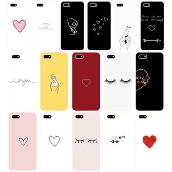 66AA prosta linia sztuki streszczenie miłość serce miękkiego silikonu etui z tpu przypadku telefonu dla Huawei Honor 7A PRO 5.45 5.7 7C 7X Y5 2018