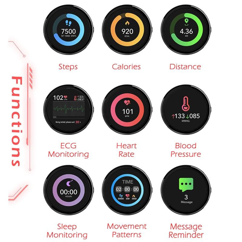 ساعة ذكية الرياضة اللياقة البدنية النشاط ECG PPG ضغط الدم مراقب معدل ضربات القلب معصمه IP67 مقاوم للماء الفرقة ل IOS أندرويد