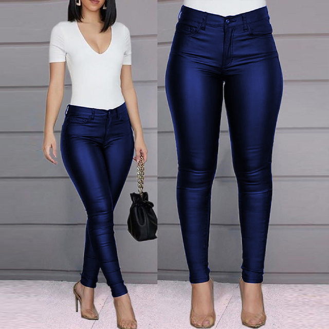 Spring Women Pu Leather Pants Black Sexy Stretch Bodycon Trousers High Waist Long Casual Pencil S-3XL Winter 2