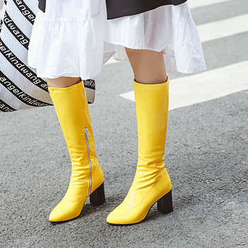 Patent Leather Women Knee High Boots Fashion Square Heel Boots Round Toe Zipper Women Shoes Black White Green Red Yellow woman genuine leather platform square heel knee high boots round toe side zipper dress winter boots black