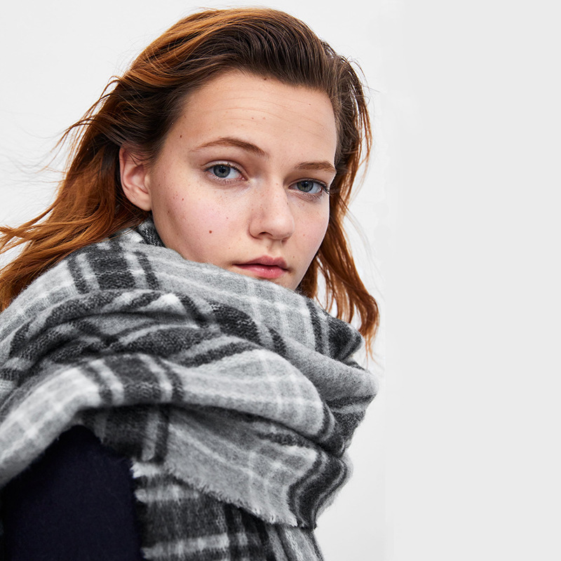 New Gray Plaid Warm Scarf Special Cabinet Soft Imitation Cashmere Men's And Women's Shawl Neck