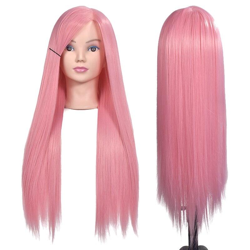 70CM High Temperature Fiber Pink Hair Training Head for Hairstyles Long Thick Hair Braiding Dummy Mannequin Heads