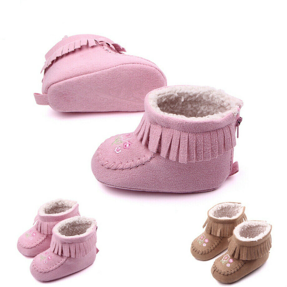 Cute Newborn Baby Girls Soft Booties Winter Warm Snow Boots Flower Sole Shoes 0-18M