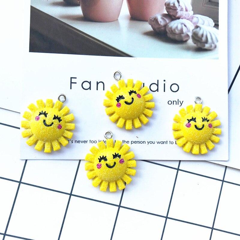 10Pcs/lot Cute Sun Flower Flatback Resin Cabochon Kawaii DIY Jewelry Making Accessories Pendants Embellishments For Scrapbooking