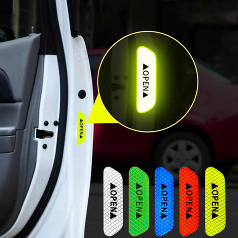 4Pcs/Set Car Open Reflective Tape Warning Sign Sticker Night Driving Safety Luminous Anti-collision Stripes Car Door Stickers