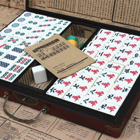 Large Mahjong Portable Wooden Boxes Set Table Game Mah jong Travelling Board Game Indoor Antique Leather Box English Manual