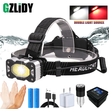 USB Rechargeable LED Headlamp with Gesture Sensor XPG + COB Headlight Powerful 5 Lighting Modes Waterproof 18650 Fishing Light rechargeable led headlamp sensor switch headlight waterproof super bright 4 lighting modes fishing headlamp with usb cable