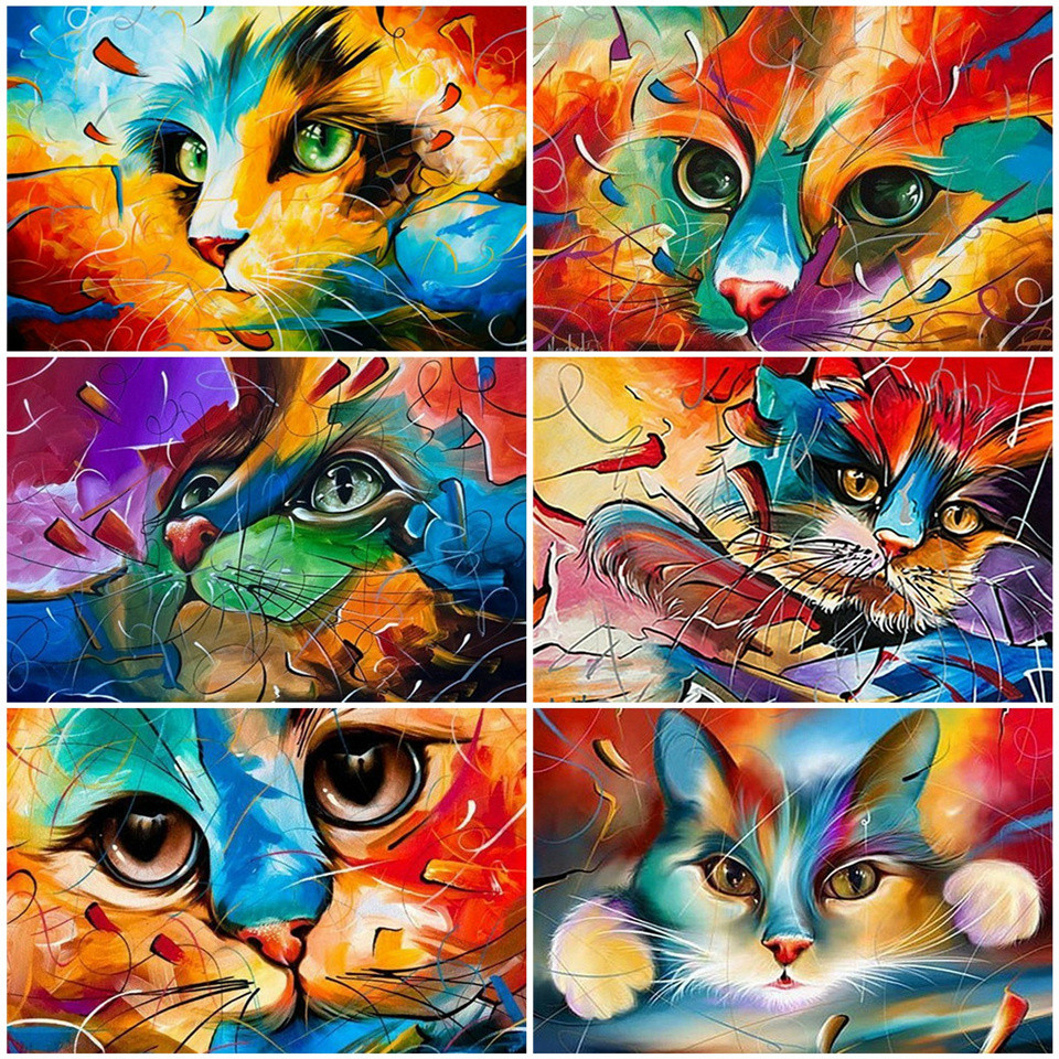 AZQSD Unframe DIY Animal Oil Painting By Numbers On Canvas Cat  Acrylic Paint Coloring By Numbers Home Wall Art 50x40cm