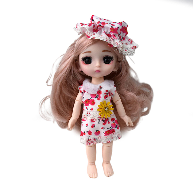 16 Cm Mini Doll 13 Movable Joint Girl Baby 3D Big Eyes Beautiful DIY Toy Doll With Clothes Dress Up 1/12 Fashion Doll Bebe