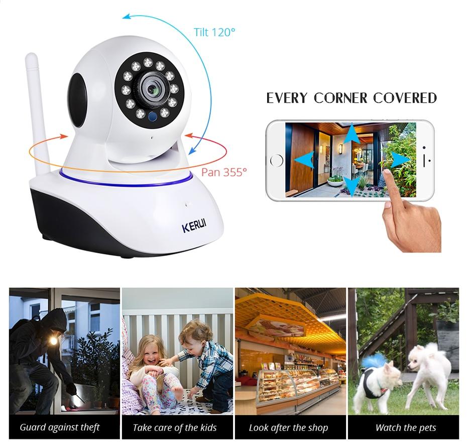 H2f28c2f438c04d36a812344c6aaa963dI KERUI 720P 1080P HD Wifi Wireless Home Security IP Camera Security Network CCTV Surveillance Camera IR Night Vision Baby Monitor