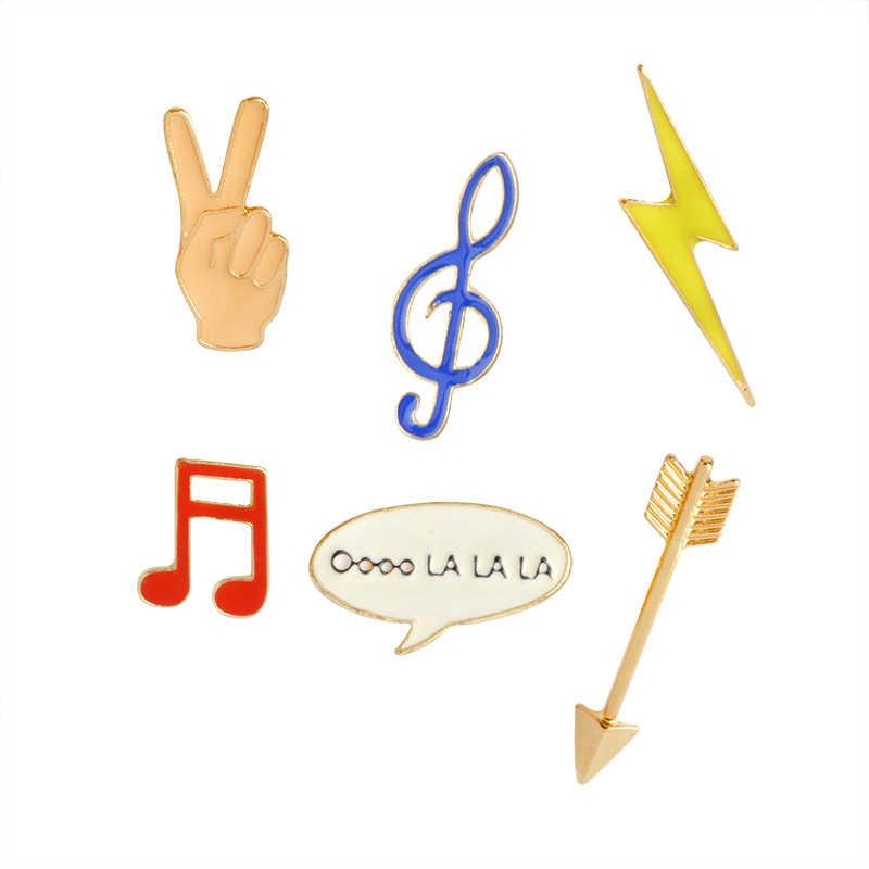 Kemenangan Gerakan Enamel Pin Simbol Musik Lucu Chat Box Bros Petir Panah Kerah Pin Lencana Pakaian Tas Perhiasan Hadiah Grosir