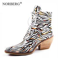 NORBERG fashion striped woman boots ankle pointed cross straps with heel shoes tendon underneath warm boots large size 43