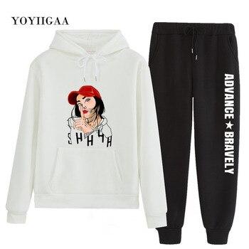 цена на 2020 Autumn Winter Fashion Tracksuit Women Hoodies Print Two Pieces Set Women's Hoodies Long Pants Suit Sweatshirts Tracksuits