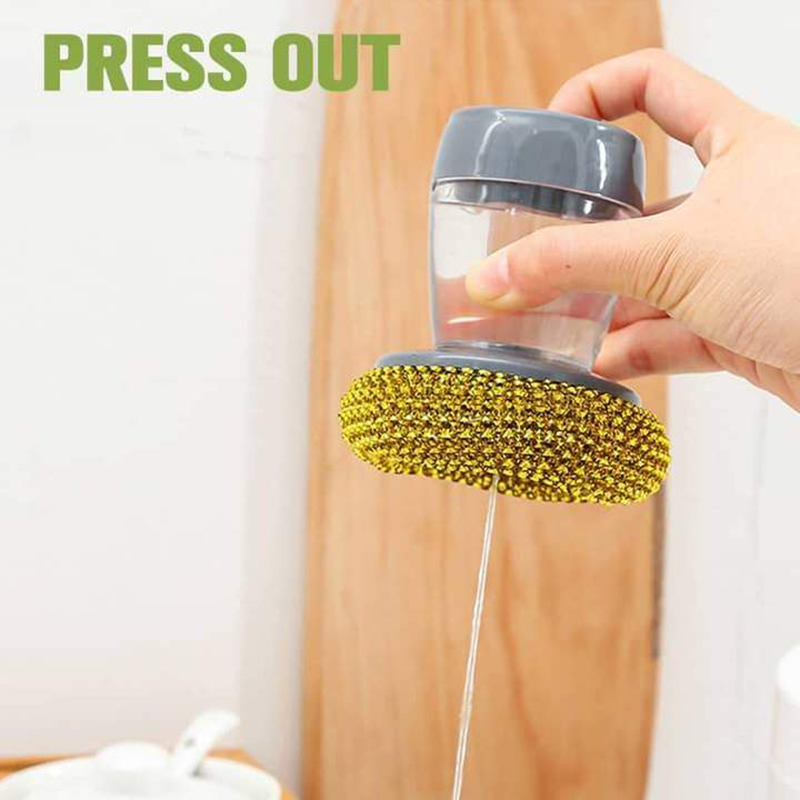 Multifunctional Pressing Cleaning Brush Built-in Liquid Storage Tank Kitchen Dishwashing Pot Brush C66 1