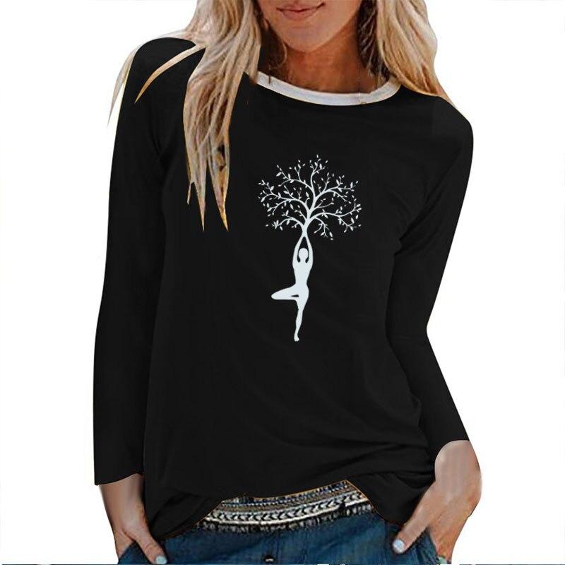 Camisetas de manga larga con estampado de árbol para mujer, camisas de Otoño Invierno para mujer, camisetas gráficas de algodón, Tops estéticos de cuello redondo blanco para mujer