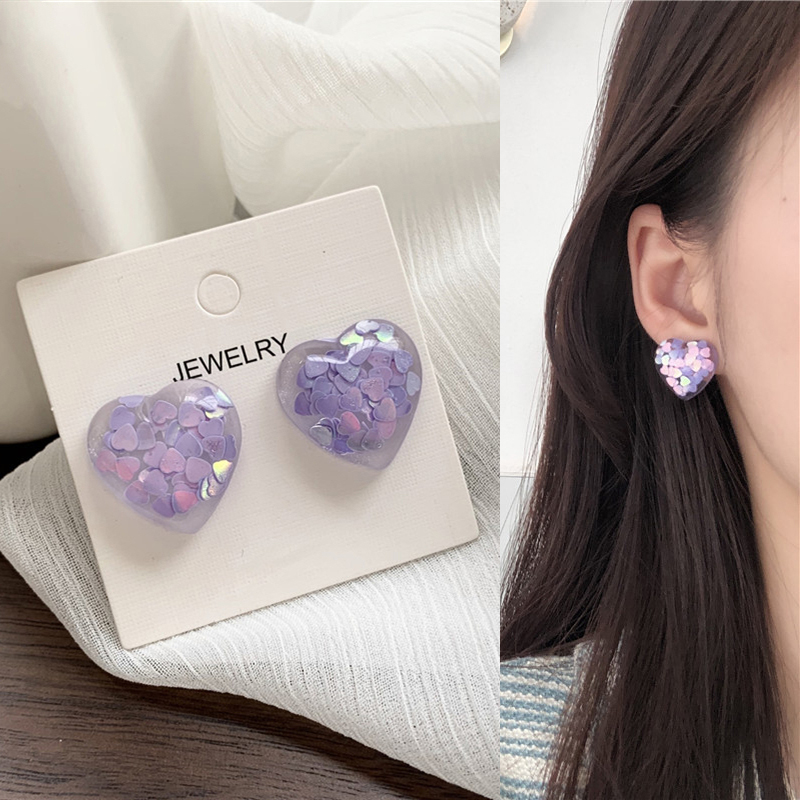 Romantic Purple Sequin Filling Heart Drop Earrings Korean Cute Love Pendent Earrings for Women Girls Lover Kids Ear Jewelry Gift