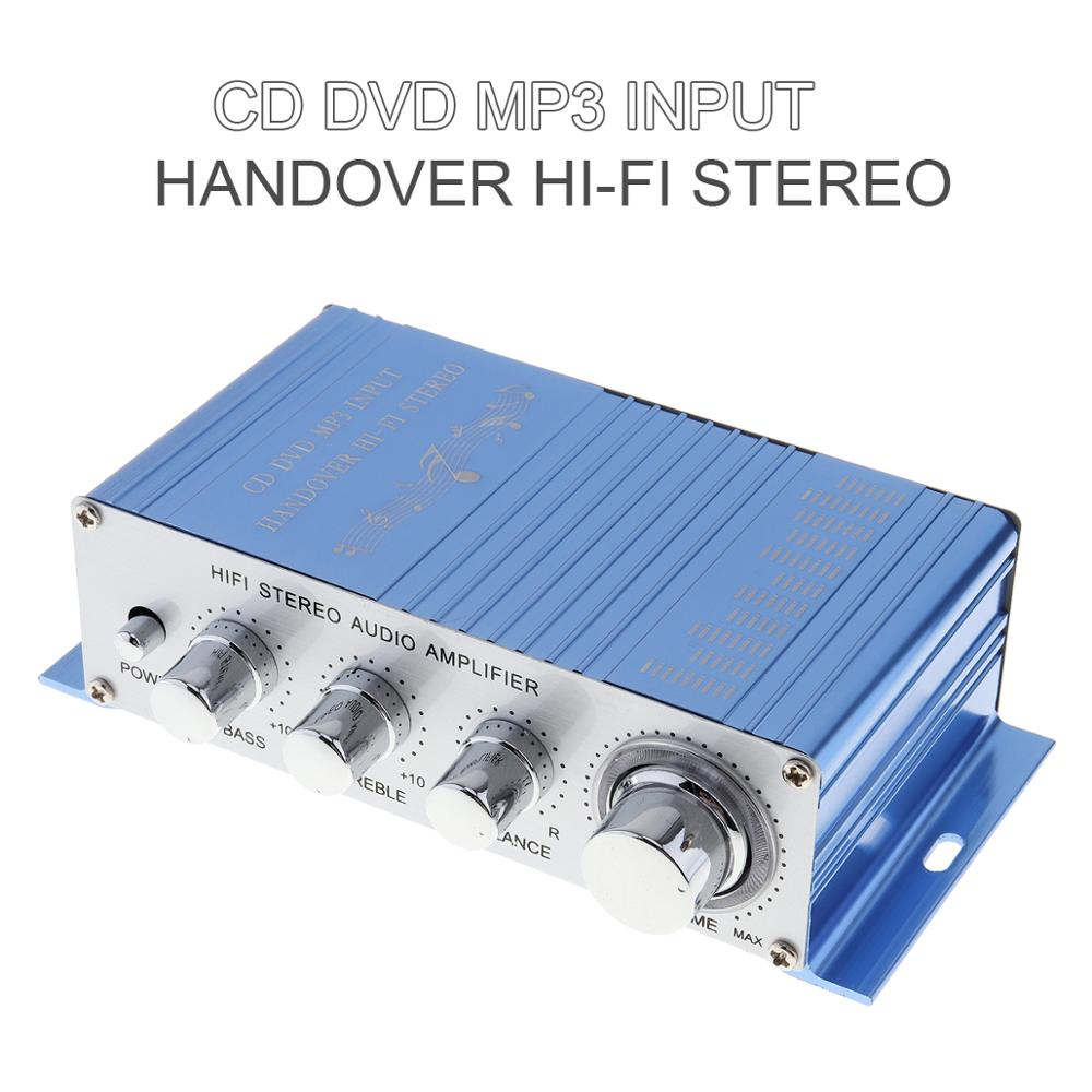 Hi-Fi DC 12V Mini Auto amplificador estéreo 2 canales reproductor de Audio soporte CD DVD MP3 entrada para moto barco casa