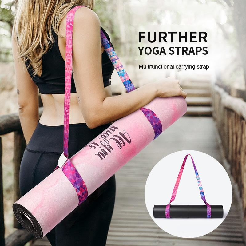 Yoga Mat Strap Belt Adjustable Sports Sling Shoulder Carry Strap Belt Multi-function  Exercise Fitness Elastic Yoga Stretch Belt