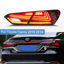 Car Taillight for Toyota Camry 2018 2019 Taillights LED Tail Lamp Rear Lamp DRL+Dynamic Turn Signal+Brake+Reverse taillight 4pcs стоимость