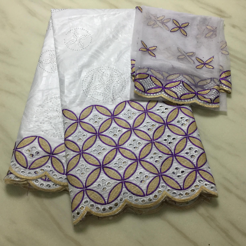 Branco roxo bazin riche getzner com bordado de ouro africano tissu bazin brode getzner com 3 d flores bordado rendas bazin