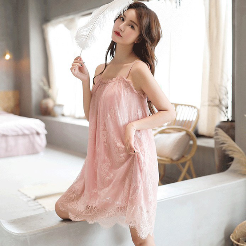 Women Sexy Night Dress Ice Silk Satin Sleepwear Female Nightgown Sleeping Dresses Night Shirts(China)