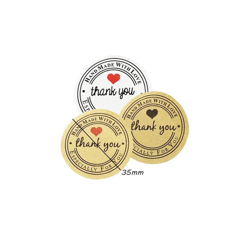 100pcs/lot 35mm Kraft Paper 'thank You' Self-adhesive  For Handmade Baking Gift Packaging Lable Stickers Scrapbooking
