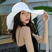 HT3062 Fashion Big Large Wide Brim Hat Solid Plain Floppy Beach Sun Hat Packable Summer Hats for Women Lady Straw Hat Beach Cap