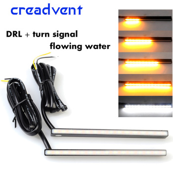 цена на New Multi-function flowing water High Power Aluminum Car LED Daytime Running Lights white DRL fog lamp turn signal yellow DC 12V