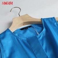 Tangada Women White Cotton Tank Dress Sleeveless Buttons 2021 Summer Fashion Lady Maxi Dresses High Quality 4C135 2