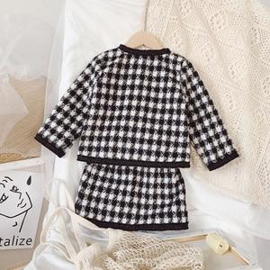 Image 3 - Новое поступление 2020, весна осень, модный костюм из двух предметов для девочек с рисунком «гусиные лапки», пальто + юбка, Детская твидовая юбка