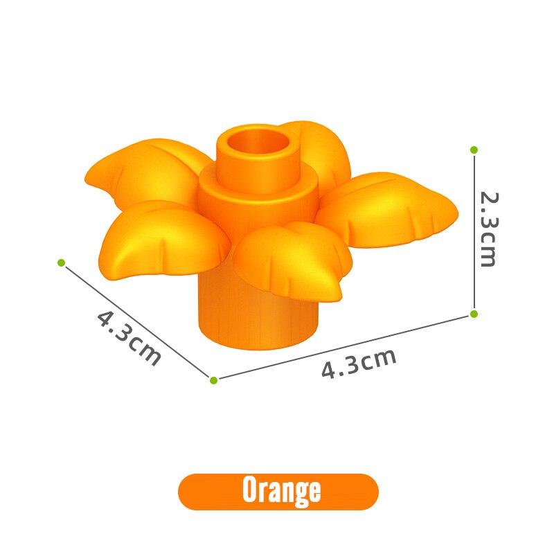 188 шт./компл. Duplo бруски, DIY аксессуары большой Размеры цветы мс комплект строительных блоков, Детские кубики, игрушки для детей Совместимость Duplo бруски, Запчасти - Цвет: orange per Jin