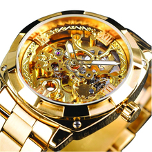 Men Waterproof Automatic Mechanical Watch Fashion Alloy Wristwatch Black Gold Silver Color