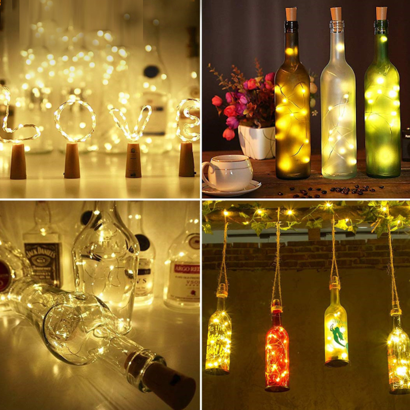 Battery Powered Garland Wine Bottle Lights With Cork 2M 20 LED Copper Wire Warm Fairy Lights String For Party Wedding Decor