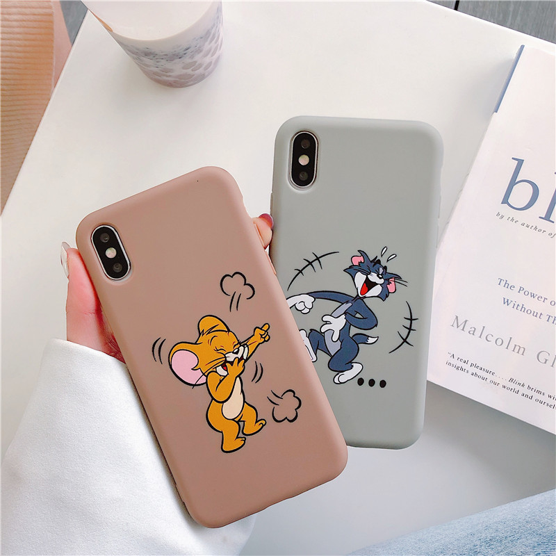 Cute <font><b>Cartoon</b></font> Cat And Mouse Soft TPU Silicone Protection CaseFunny <font><b>Tom</b></font> <font><b>Jerry</b></font> Phone <font><b>Case</b></font> For <font><b>iPhone</b></font> X XS Max XR 6 6S <font><b>7</b></font> 8 Plus image