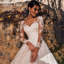Ashley Carol Long Sleeve Wedding Dress 2020 Romantic Beach A Line Bride Dresses Appliques Tulle Princess Vintage Bridal Gowns