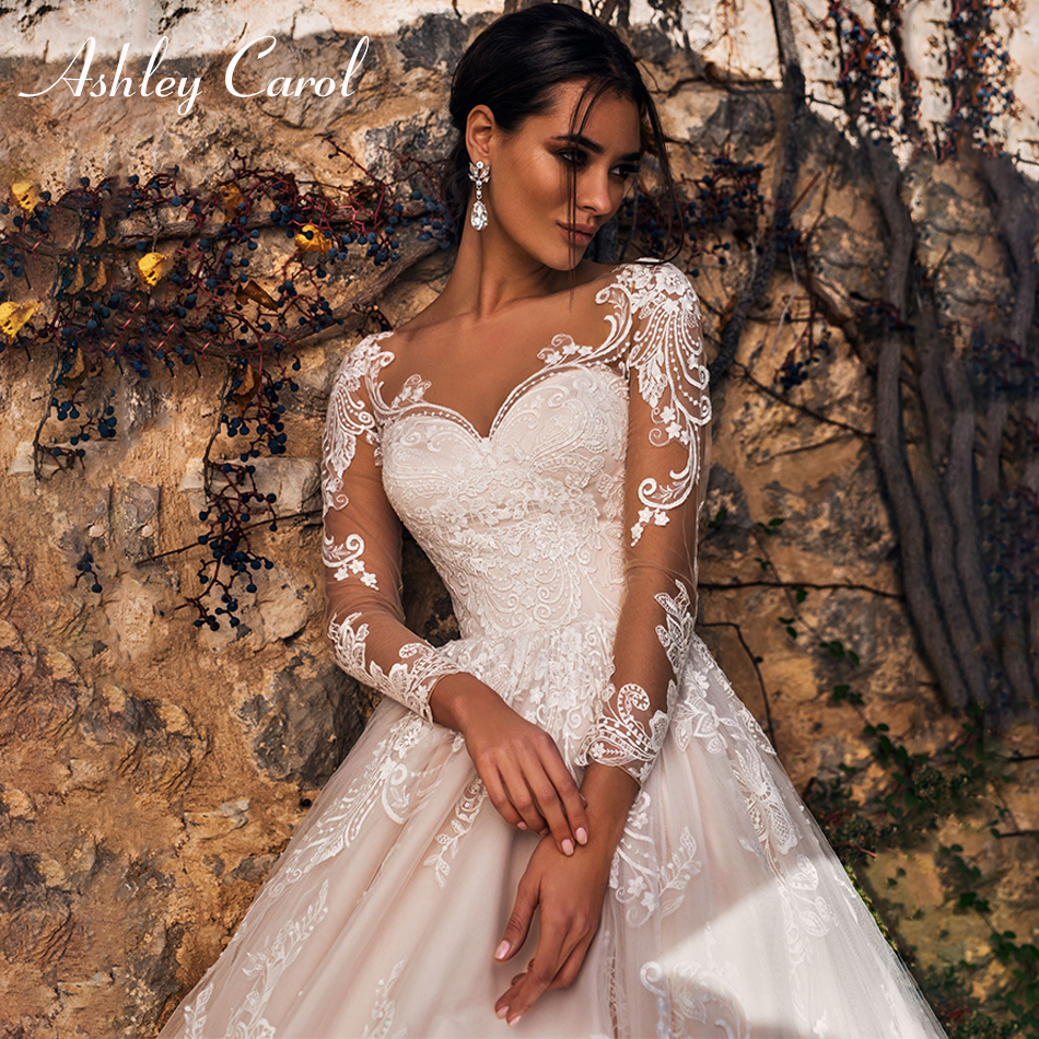 Ashley Carol Long Sleeve Wedding Dresses 2020 Vestido De Noiva Beach A-Line Romantic Appliques Tulle Button Princess Bridal Gown