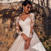 Ashley Carol uzun kollu düğün elbisesi 2020 romantik plaj A Line gelin elbiseler aplikler tül prenses Vintage gelinlikler