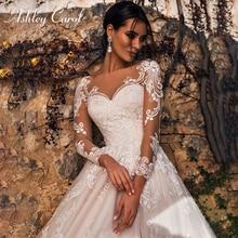 Vestido de novia de manga larga ashily Carol 2020, vestidos de novia de línea a románticos para la playa, vestidos de novia Vintage de tul con apliques de princesa