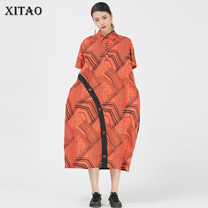 Женское платье с блестками XITAO, Повседневное платье с коротким рукавом и отложным воротником, лето 2020, ZP1344