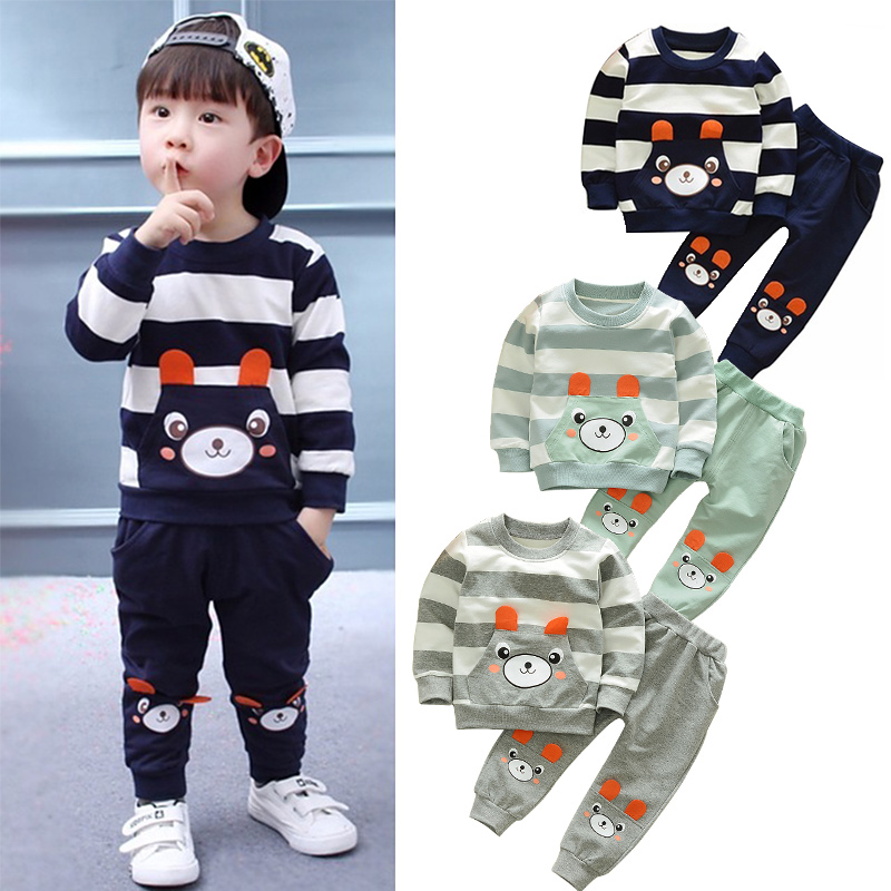 Baby Boy Clothes Cotton Warm Two-piece 0-5 Years Old Baby Boy Baby Girl Cartoon Bear Sweater Suit Striped Baby Clothing