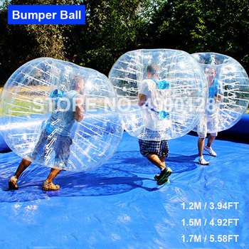 цена на Free Shipping 0.8mm PVC Inflatable Zorb Ball 1.2m 1.5m 1.7m Bubble Soccer Ball Air Bumper Ball Bubble Football Indoor Outdoor