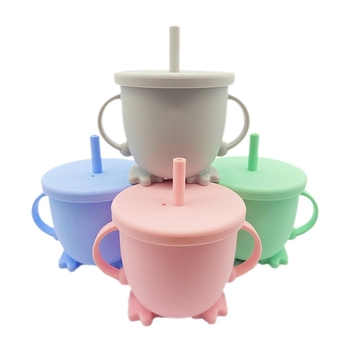 Silicone Baby Feeding Bottle Portable Double Handle Water Toddler Kids Learning Drinking Mugs With Straw Cup Lid