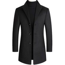Winter middle-aged mens tweed coat and cotton tweed coat mens coat lon